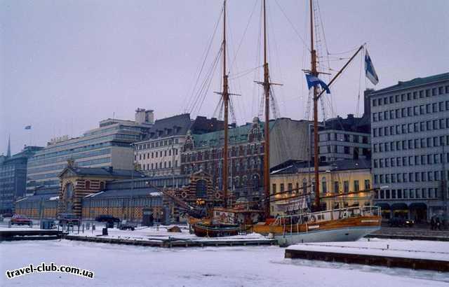 Финляндия  Хельсинки, заснеженная набережная.